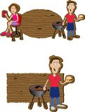 BBQ Signs. Pair of BBQ signs with illustrations of people on them Stock Photo