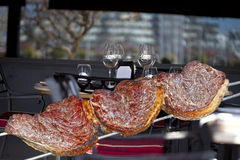 BBQ on a skewer. Juicy barbecue served on a restaurant Stock Images