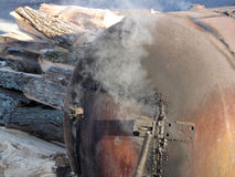 BBQ Smoker. A close-up of a rugged built barbecue smoker Royalty Free Stock Photography