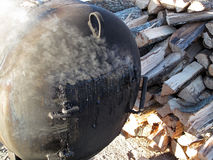 BBQ Smoker. A close-up of a rugged built barbecue smoker Royalty Free Stock Images