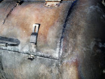 BBQ Smoker. A close-up of a rugged built barbecue smoker stock photos