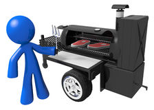 BBQ Smoker Mobile Grill and Man Preparing Food. Man preparing yummy steaks on mobile grill Stock Images