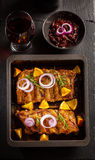 BBQ spare ribs with chutney and wine Royalty Free Stock Photography