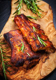 BBQ spare ribs. With herbs stock image