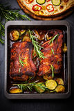 BBQ spare ribs with herbs and vegetables. Top view royalty free stock photos