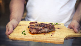 BBQ steak. Barbecue grilled beef steak meat Stock Images