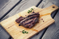 BBQ steak. Barbecue grilled beef steak meat Stock Photo