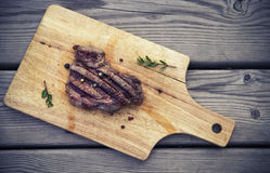 BBQ steak. Barbecue grilled beef steak meat Royalty Free Stock Photo