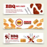 BBQ and steak horizontal banners template. Meat, burgers and barbecue icons stock illustration
