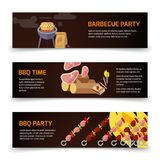BBQ and steak horizontal banners template. Meat, coal, firewood and barbecue on a black background. Poster for barbecue party and bbq time. Vector illustration Stock Photos