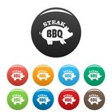 Bbq steak icons set color. Bbq steak icons set 9 color vector isolated on white for any design royalty free illustration