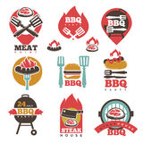 BBQ Steak Party House Meat Point Signs Collection. BBQ 24 stickers logos set isolated signs collection on white. Vector poster of barbecue preparing process on Royalty Free Stock Images