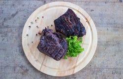 BBQ stek Grill piec na grillu wołowina stek Obraz Stock