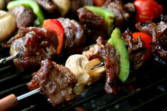 BBQ sticks. Barbeque sticks with meat and vegetables stock photography