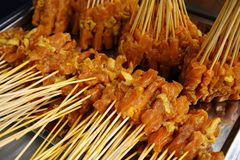 Bbq sticks. Delicious meat on a bbq Royalty Free Stock Photography