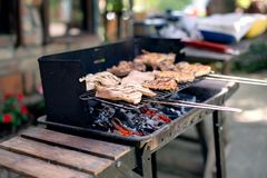 Various cooking meats on a flame grill Stock Image