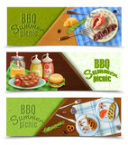 BBQ Summer Picnic Banners Set. Bbq summer picnic horizontal banners set with grilled meat and fish, sauces, tableware, napkin,  vector illustration Stock Photography