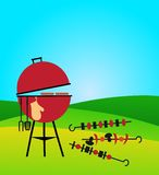 BBQ sur le pré vert Photos stock