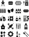 Bbq-symboler Fotografering för Bildbyråer