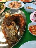 BBQ tête de serpent chaud et épicé de poissons grillé Photos stock