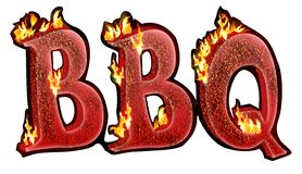 BBQ text. BBQ burning charcoal text design with the realistic burning effect with fire flames Stock Image