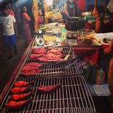 BBQ Thais Azië Thailand van het straatvoedsel Stock Foto
