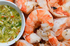 BBQ Tiger Prawn with Seafood Dip Stock Image