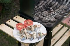 BBQ time. Shrimp kebabs ready to be barbecued stock images