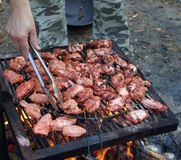 BBQ time. Barbecue grill outside ,making grilled tandoori chiken wings Stock Images