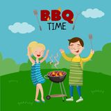 BBQ time banner, cartoon style poster with people on the lawn cooking barbecue, vector Illustration vector illustration