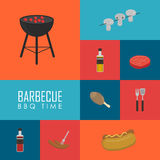 BBQ time concept. Barbecue grill icons set Stock Photography