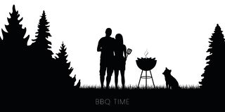 Free Bbq Time Couple With Dog And Kettle Barbecue In Forest Silhouette Royalty Free Stock Photo - 148871555