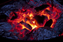 BBQ Time. This is a good timing for charcoal grill BBQ in a cold winter night royalty free stock image