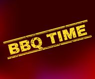 BBQ TIME Grunge Stamp Seal on Gradient Background royalty free illustration