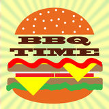 BBQ time. BBQ party invitation card with hamburger Stock Images