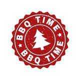 BBQ TIME Scratched Stamp Seal with Fir-Tree stock illustration