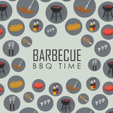 BBQ time seamless pattern. Barbecue grill concept. BBQ time vector illustrations. Barbecue seamless pattern with grill and food design elements around text on vector illustration