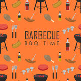BBQ time seamless pattern. Barbecue grill concept. BBQ time vector illustrations. Barbecue seamless pattern with grill and food design elements around text on stock illustration