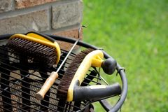 BBQ Tools on Brazier 2 Stock Photos