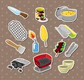 Bbq tools etiketter royaltyfri illustrationer