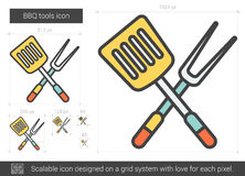 BBQ tools line icon. BBQ tools vector line icon isolated on white background. BBQ tools line icon for infographic, website or app. Scalable icon designed on a Stock Photos