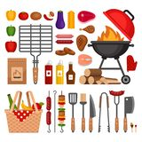 Bbq tools set. Barbecue grill  isolated elements. Flat style, ve. Ctor illustration Stock Image