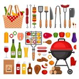 Bbq tools set. Barbecue grill isolated elements. Flat style, ve stock illustration