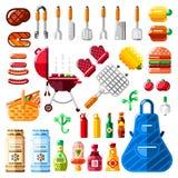 Bbq- und Grillikonen und lokalisierter Gestaltungselementsatz Vector Grilllebensmittel, Ausrüstung und bearbeitet Illustration lizenzfreie abbildung