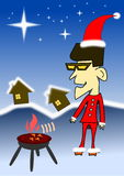 Bbq van de Kerstmisnacht van de jongen Royalty-vrije Stock Afbeelding