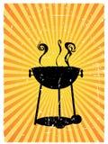 Bbq van het silhouet zonnige geaccentueerde stralen grunge Royalty-vrije Stock Afbeelding