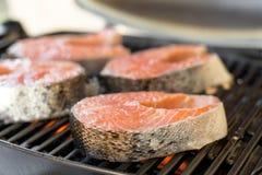 BBQ van het zalmlapje vlees Stock Afbeeldingen