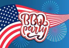 4 BBQ van juli Partij het van letters voorzien de uitnodiging voor de Amerikaanse barbecue van de onafhankelijkheidsdag met 4 de  vector illustratie