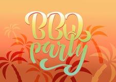 BBQ van letters voorziende het embleem vectorontwerpsjabloon van de partijhand De tekst typografisch etiket van de gradi?ntbarbec royalty-vrije illustratie