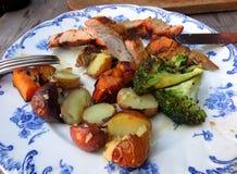 BBQ varkensvlees en groenten Royalty-vrije Stock Afbeeldingen
